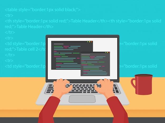 Программирование, кодирование и концепция кода веб-разработки