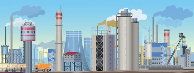 Индустриальный пейзаж с заводами и заводами. отраслевая иллюстрация
