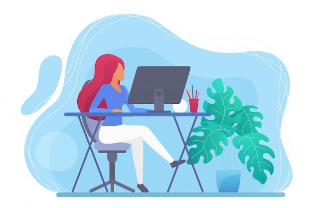 Длинная женщина волос работая дома концепция иллюстрации характера компьютера