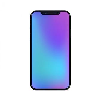 Новая версия черного тонкого реалистичного смартфона с современными градиентными сетками обоев.