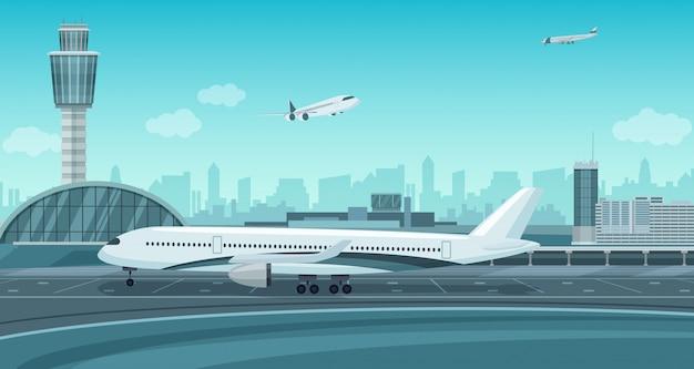 航空機が離陸する空港ターミナルビル。モノクロモノカラー空港風景。