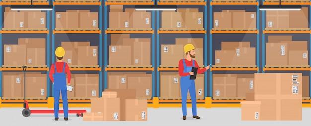 働く人々と倉庫のインテリア。物流配送貨物サービスバナーコンセプト。