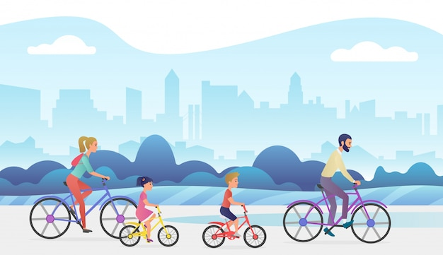 Активная семья вне поездки. отец, мать, дочь и сын едут на велосипедах в городском парке. модный градиент цвета иллюстрации.