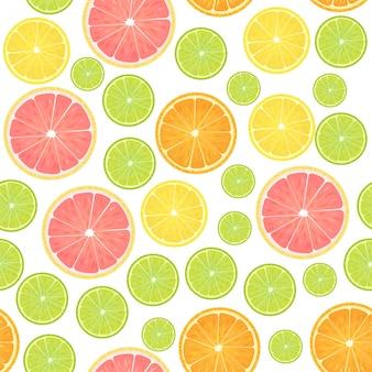 カラフルな柑橘系のレモンのシームレスパターン。