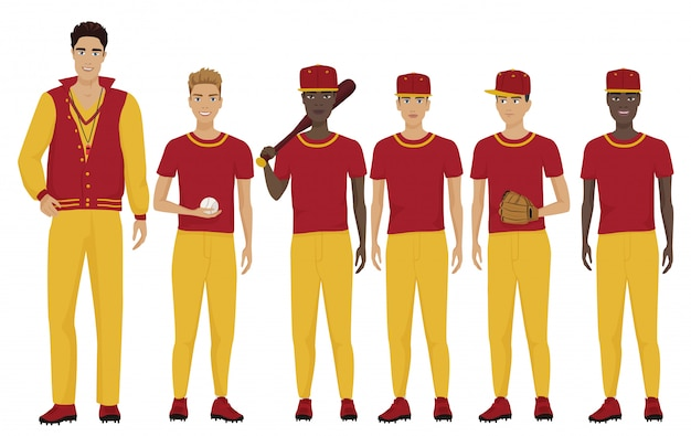 Команда бейсболистов с тренером