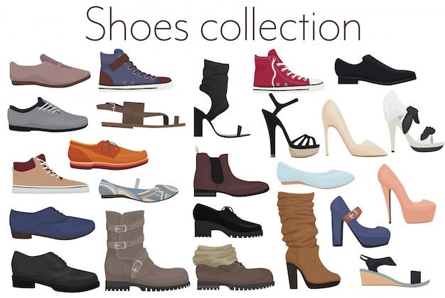 Вектор модный комплект мужской и женской обуви обувь