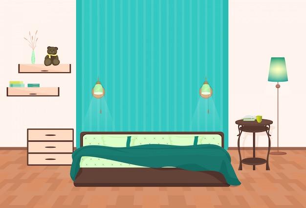 漫画の寝室のインテリア