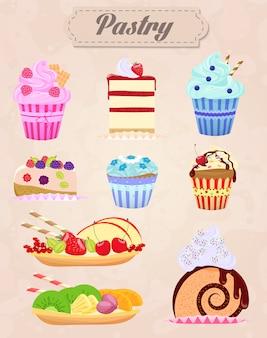 ビンテージケーキやペストリーセット