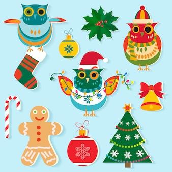 クリスマスのアイコン、新年の要素