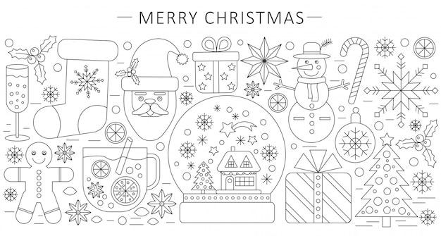 細い線クリスマスの背景