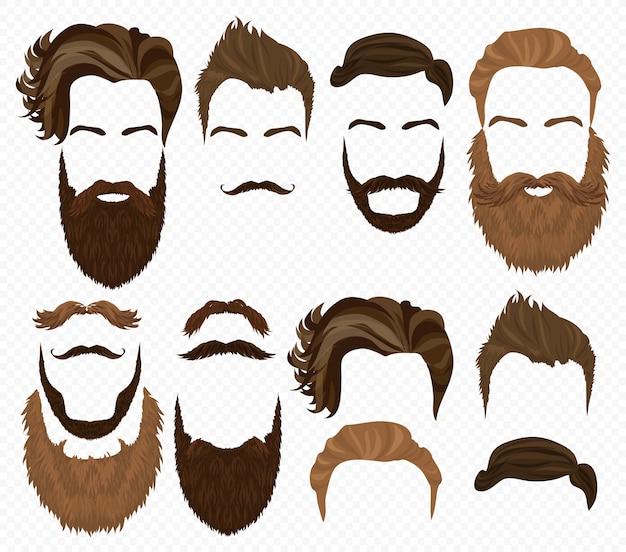 男の髪、髭ひげセット