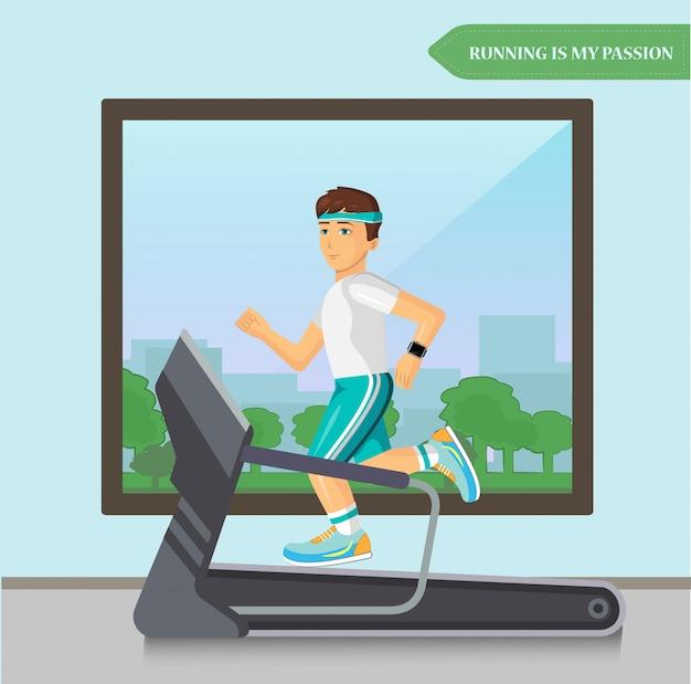 フィットネススポーツセンターのトレッドミルで実行されているランナーの男性。