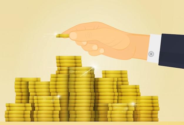 手は宝物にコインを追加します
