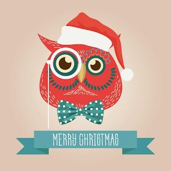 クリスマスかわいい森のフクロウのロゴ