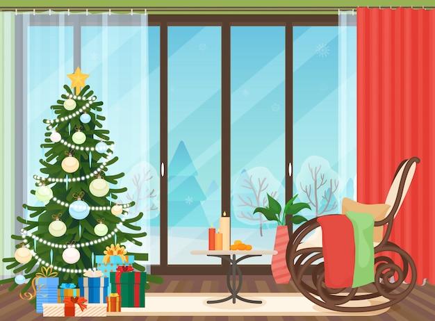 クリスマスのリビングルームのインテリア