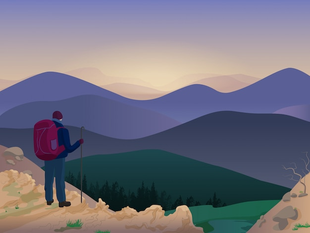 Человек турист на вершине горы