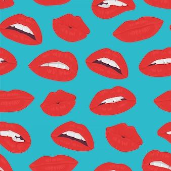ビンテージ赤い唇キスのシームレスパターン