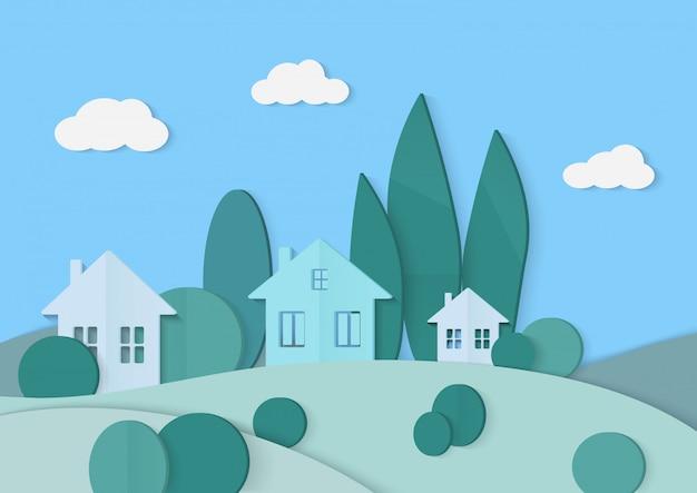 Деревенский картон, бумажный пейзаж