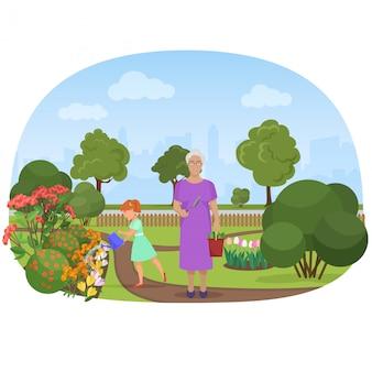 自分の庭で祖母と花に水をまく少女
