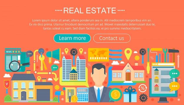 Шаблон недвижимости плоской инфографики