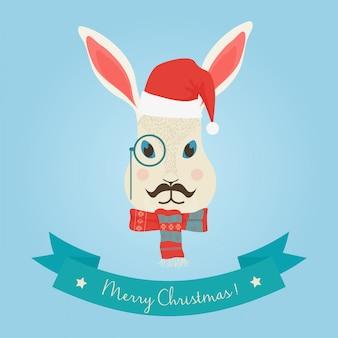 クリスマスの森のウサギのウサギの頭のロゴ