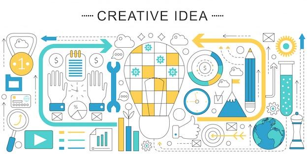 創造的なアイデアフラットラインコンセプト