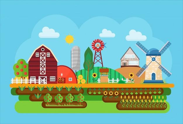 Сельскохозяйственный деревенский пейзаж