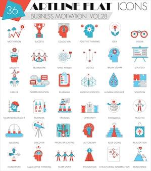 Бизнес мотивация плоская линия иконки