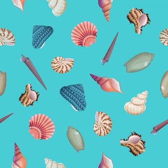 貝殻のシームレスパターン。