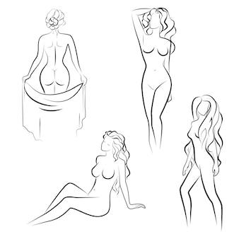 裸の女性がポーズ