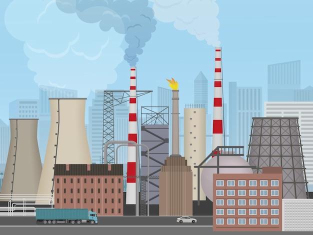 Заводская фабрика на фоне города