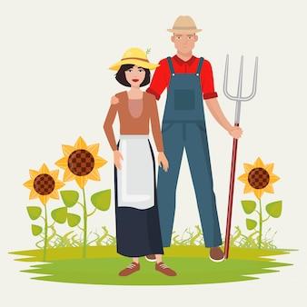農民カップル男女。