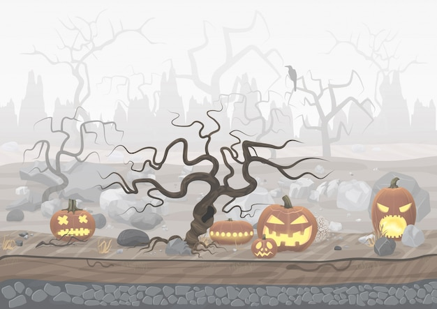 霧の怖いホラーハロウィーンの風景