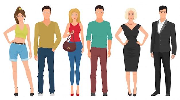 カジュアルなストリート服の人々
