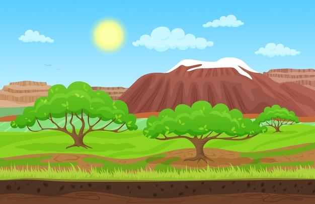 山の丘と夏の風景