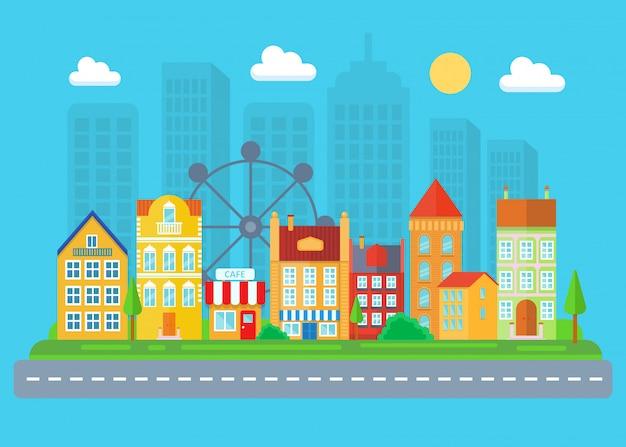 都市と村の風景