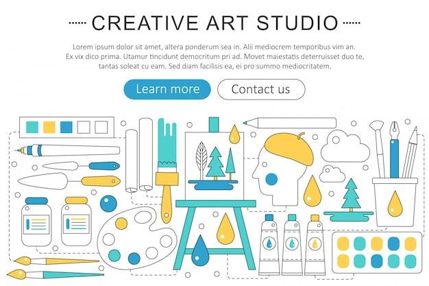 クリエイティブまたはペインターアートスタジオのコンセプト
