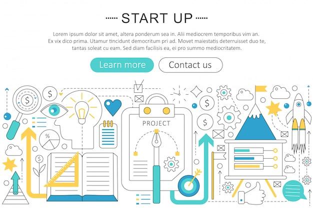 Начать бизнес концепции плоской линии