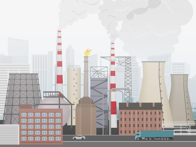 Промышленный завод, заводской пейзаж