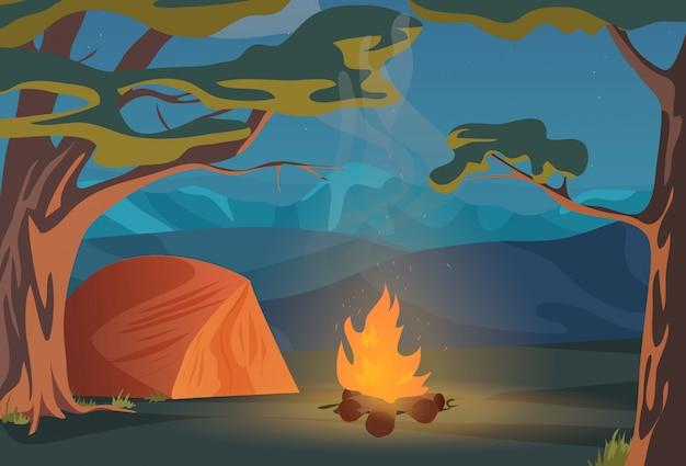 屋外キャンプのレクリエーション風景
