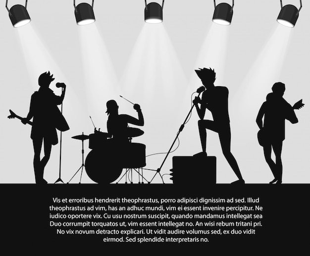 テキストの場所でステージ上のロックバンドのシルエット。