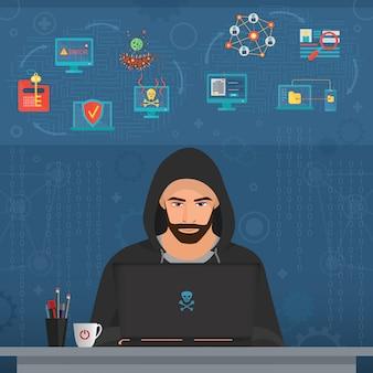 秘密のデータをハッキングするハッカーの男