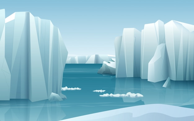 Природа зимой арктический ледяной пейзаж