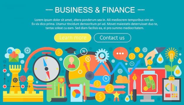 Бизнес и финансы плоские иконки концепция
