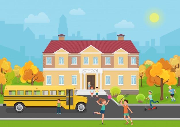 庭で子供たちと校舎