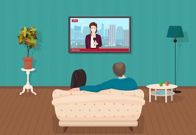 テレビを見ているカップルの毎日のニュース