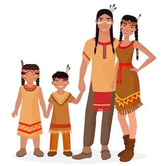 ネイティブアメリカンインディアンの伝統的な家族