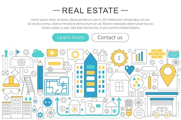 Концепция недвижимости плоская линия