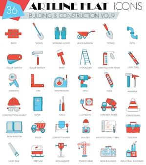 建設および建築用具の平らな線アイコン