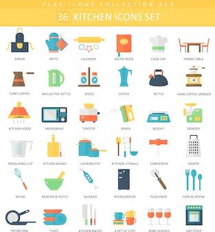Вектор кухня цвет плоский значок набор. элегантный стиль дизайна.